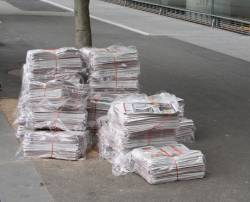 Pile of mX newspapers outside Southern Cross