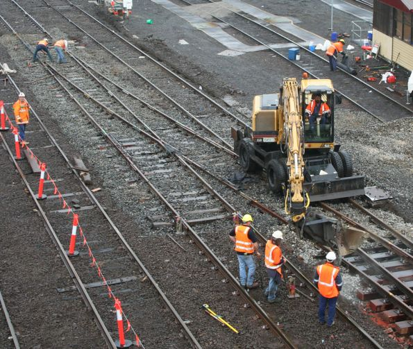 Work on BG crossover onto SG line (to be converted to DG) near the Dudley Street Passenger Yard