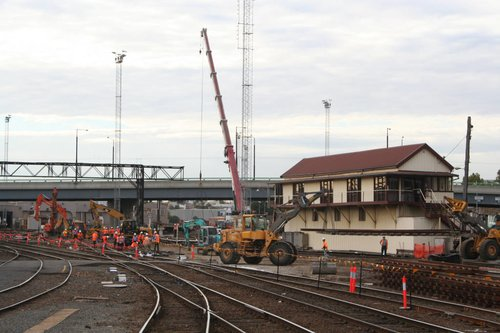 Track rearrangement work at the up end of Southern Cross