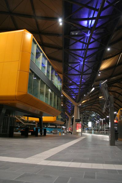 The pods at Southern Cross by night