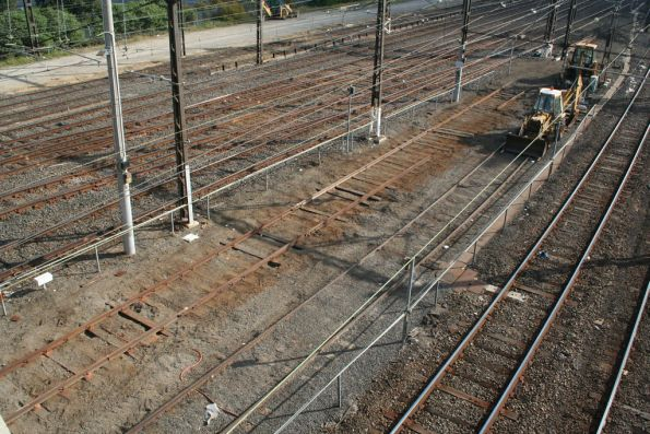 Relaying track in the Layby Sidings