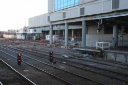 Work on extending platform 1/2 at Southern Cross