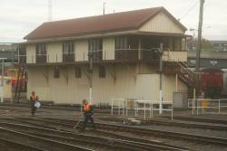 Track maintenance outside the front of Number 1 signal box