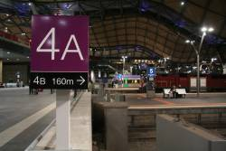 New directional signage to differentiate the A and B platforms at Southern Cross Station