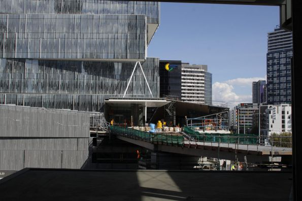 New footbridge over Wurundjeri Way, linking the Bourke Street footbridge and a new office block