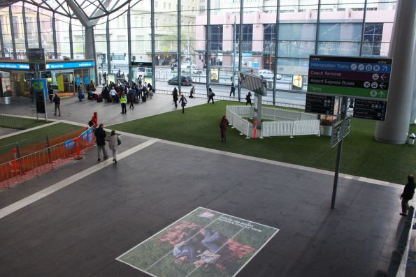 Artificial grass on the Collins Street concourse
