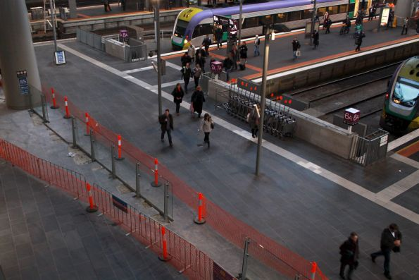 Glass wall taking shape to close off the country platforms