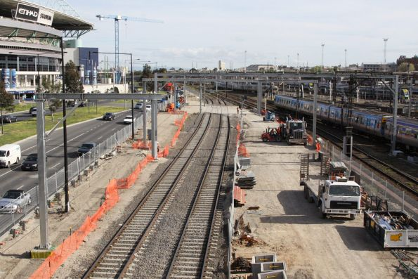 New stanchions in place over the goods lines north of Bourke Street: to make room for the new passenger tracks