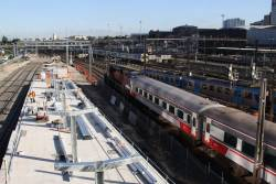 Work continues on the north end of the new platform 16/16