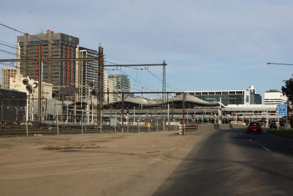 View of the northern side of Southern Cross Station, from Wurundjeri Way
