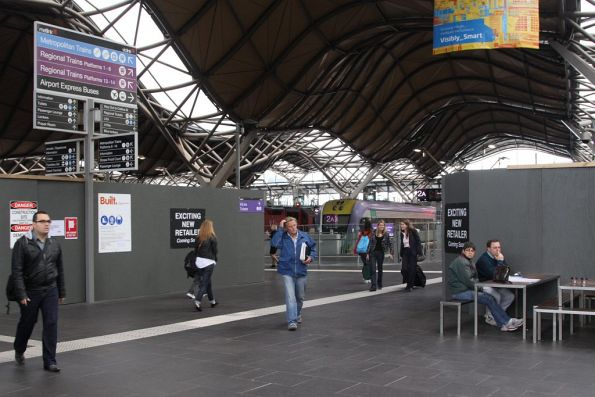 How many V/Line commuters can you squeeze between 'Exciting New Retailers'?