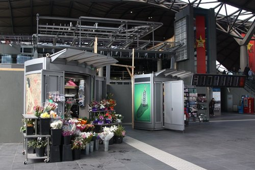 Stalls at the Collins Street entry to Southern Cross: a florist makes sense, but socks?