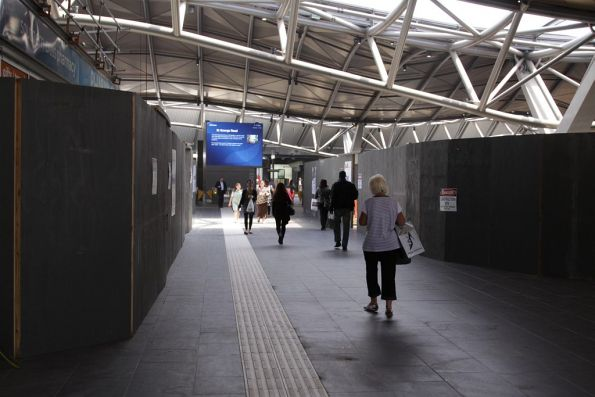 Crammed in: the main access from the suburban platforms to Spencer Street now a hamster maze