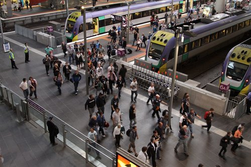 Funnelling V/Line passengers past the Myki gates on the Collins Street concourse