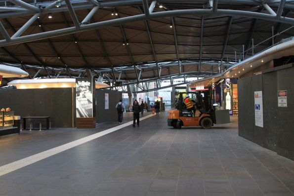 Forklift delivering doodads on the Collins Street concourse