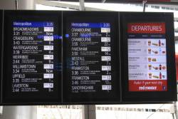 Both the real and Red Rooster screens in sync: Cranbourne train in 22 minutes on platform 12