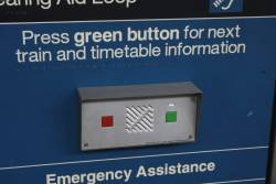 Timetable information / emergency assistance intercom on the suburban platforms