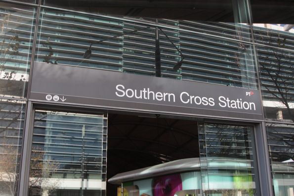 New PTV branded signage above the entrances at Southern Cross Station