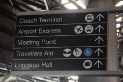 'Airport Express' sign at Southern Cross Station, this time with an accurate bus icon