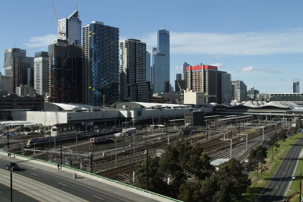 Overview of the carriage yards from the north-east side of La Trobe Street