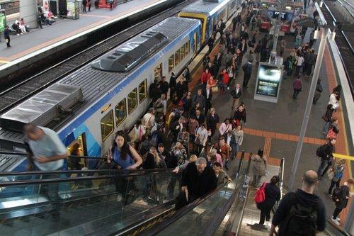 Passengers depart the train on platform 10