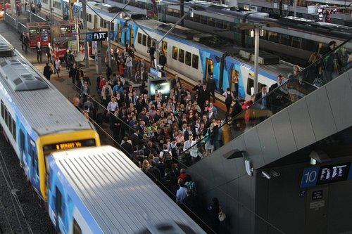 Passenger congestion for the escalators from platforms 9 and 10 at Southern Cross Station