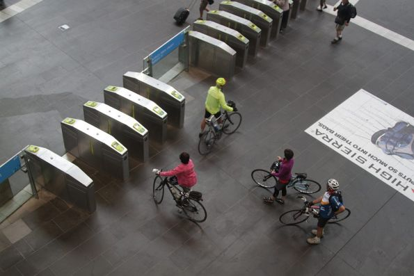Group of cyclists ready to catch a V/Line train from Southern Cross Station
