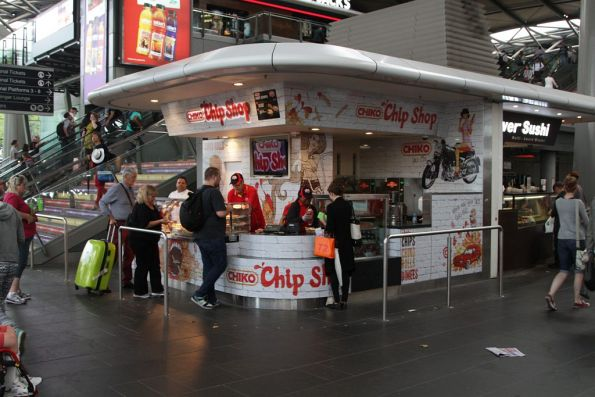 Temporary 'Chiko Chip Shop' setup on the Collins Street concourse