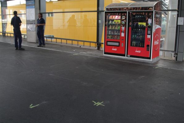 Markings for the second series of shops on the Bourke Street bridge