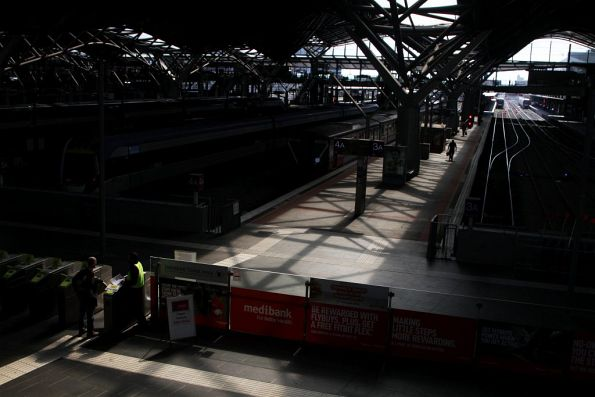 Afternoon sun shines on the country platforms at Southern Cross