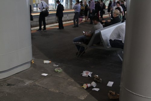 Rubbish litters the platforms now that the bins have been taken away