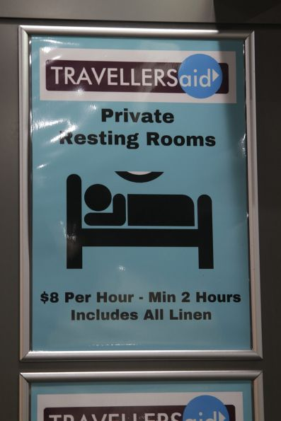 Private resting rooms for hire at the Travellers Aid area at Southern Cross Station