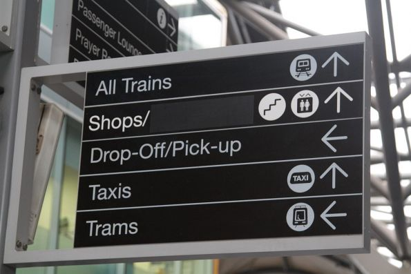 Blanked out 'Food court' directions at Southern Cross Station