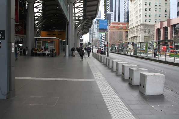 Concrete bollards 'protecting' the entrance to Southern Cross Station