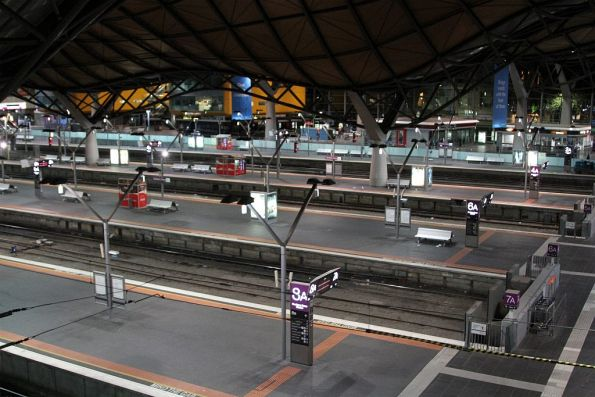 Empty V/Line platforms at Southern Cross Station