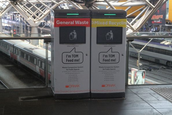 Compacting rubbish bins at Southern Cross Station
