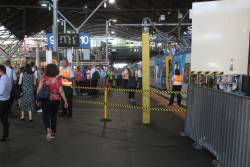 North end of Southern Cross platform 10 roped off in evening peak to prevent overcrowding