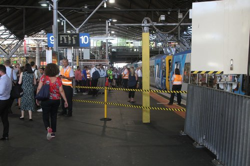 North end of Southern Cross platform 10 roped off to prevent overcrowding
