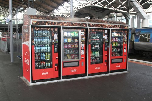 Coca Cola branded drink and snack vending machines