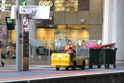 Transferring rubbish bins at Southern Cross Station