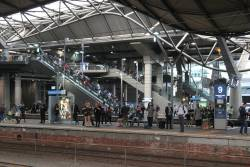 Passengers waiting at Southern Cross platform 9