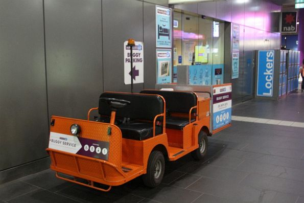 Electric buggy parked outside the Travellers Aid office at Southern Cross Station
