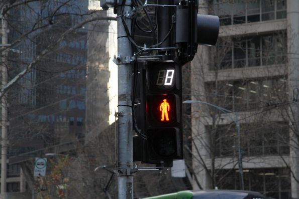 Countdown timer at the Spencer and Collins Street pedestrian crossing
