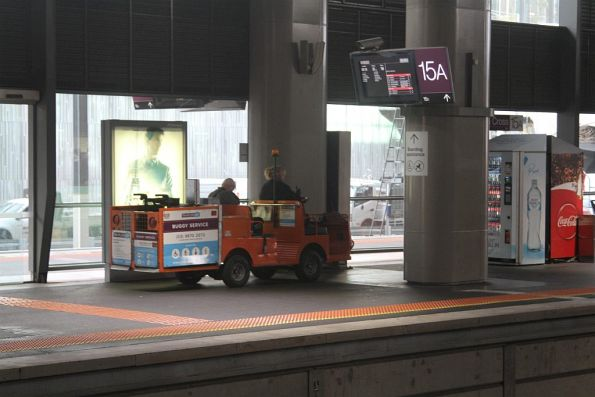Travellers Aid buggy at Southern Cross platform 15