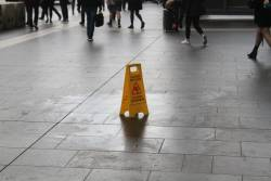 Wet floor at the main entrance to Southern Cross Station