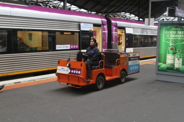 Travellers Aid buggy at Southern Cross platform 7