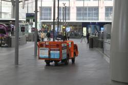 Travellers Aid buggy on the concourse at Southern Cross
