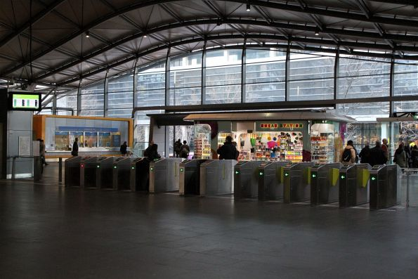 Ticket gates at the Docklands side of the Collins Street suburban concourse