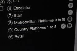 Incorrect 'Metropolitan platforms 9 to 16' sign at Southern Cross Station