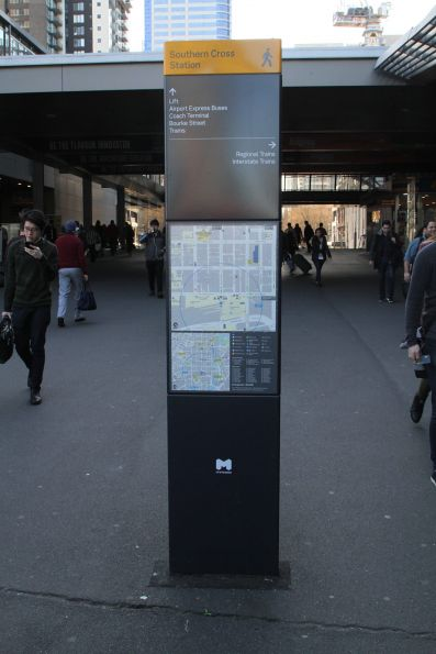New style of City of Melbourne directional signage on the Bourke Street bridge